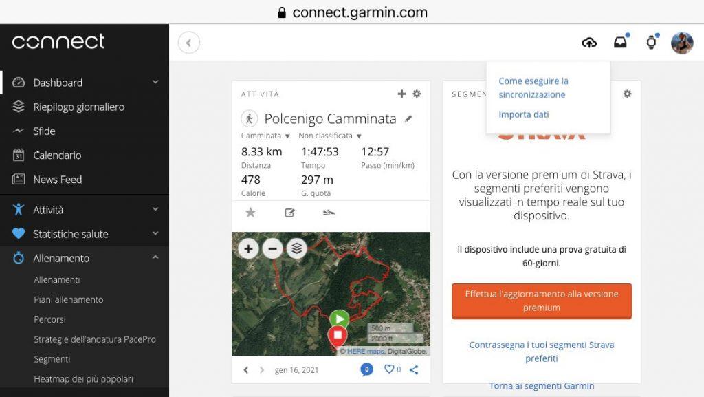 come caricare traccia gpx garmin web